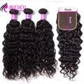 Mscoco Wasser Welle Bundles Mit 5x5 Verschluss Brasilianische Haar Weben 3 Bundles Mit Verschluss Remy Menschliches Haar Mit 5x5 Spitze Schließung
