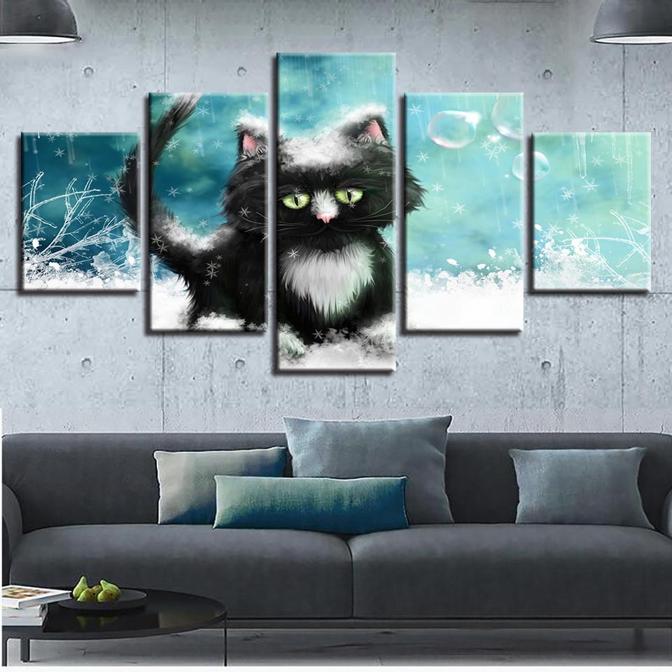 Canvas Printed Poster Home Decor 5 Pieces Animal Cat Painting Wall Art Lovely Pictures For Abstract Living Room Modular Frame