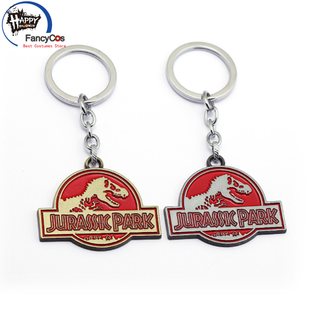 Jurassic World Key Chain Metal Key Chain Movie Jewelry Metal Pendant Chain Charm Fancy Key Chain Halloween Cosplay Costume Gifts