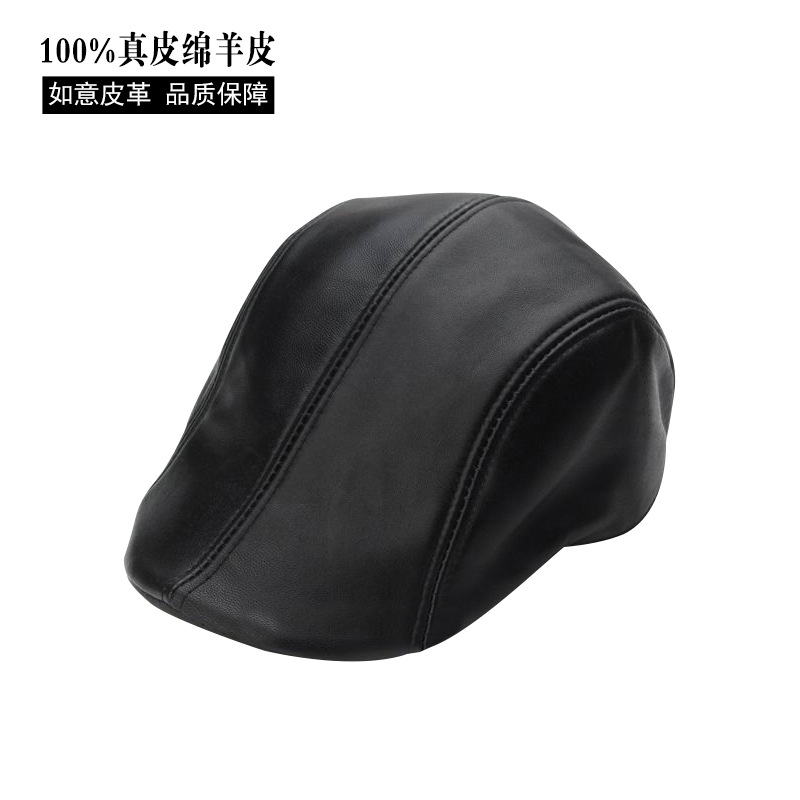 2017 Leather Visors Hats Men Women Driving Cowhide Hat Planas Flat Cap Black Beret Golf Hat Unisex Cap New Year Gift B-7233