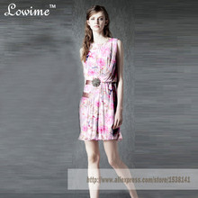 New Style Colorful Print Homecoming Dress with Sash Girls Summer Fall Dress Mini Vestidos Short Party Gowns Robe De Soriee