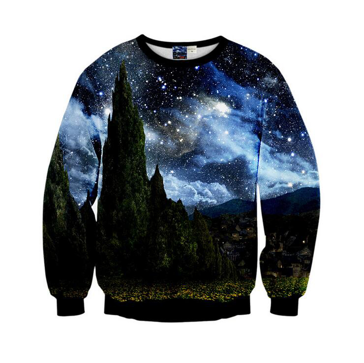 2018 New Arrival Men Hoodies 3D Digital Starry Sky Pattern Printed O-Neck 96% Polyester 4% Spandex S to XL Fashion Sweatshirts