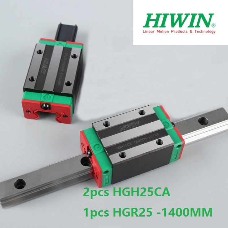 1pcs 100% original Hiwin linear guide linear rail HGR25 -L 1400mm + 2pcs HGH25CA linear narrow block for cnc router hiwin taiwan made 2pcs hgr25 l 600 mm linear guide rail with 4pcs hgh25ca or hgw25ca narrow sliding block cnc part