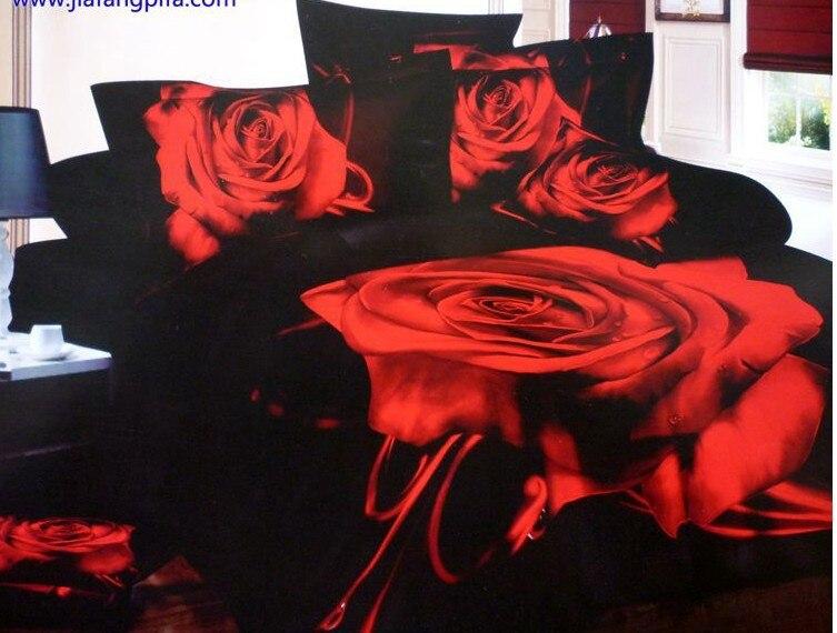 3D noir et rouge rose fleur designer ensemble de literie queen