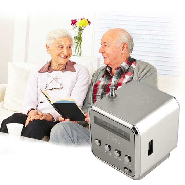 Aleación de aluminio portátil TD-V26 Mini altavoz portátil Digital LCD sonido Micro SD/TF FM Radio música altavoz estéreo para ordenador portátil