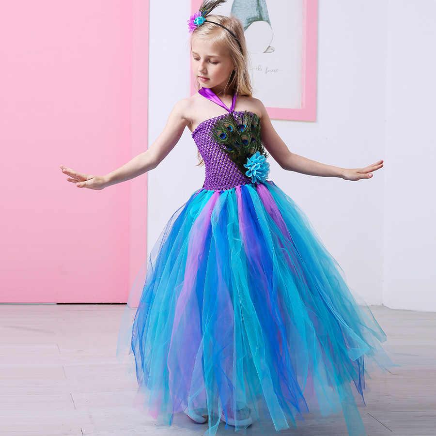 Платье-пачка с перьями павлина для девочек, платье с павлином, аксессуары для волос на Хеллоуин, нарядный Свадебный костюм, нарядный наряд