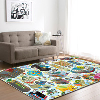 Cartoon 3D Horse Dog Geometric Printing Rugs And Carpets For Home Living Room Children's Rug Large Anti slip Yoga Mat Area Rug