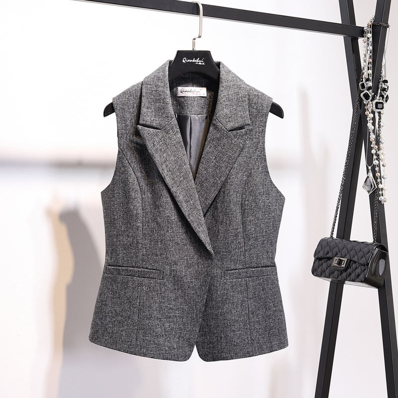 LANMREM New Casual Turn-down Collar Sleeveless Vest Coat Fashion Women High Quality Temperament Hot Sale Simple Clothes <font><b>BD249</b></font> image