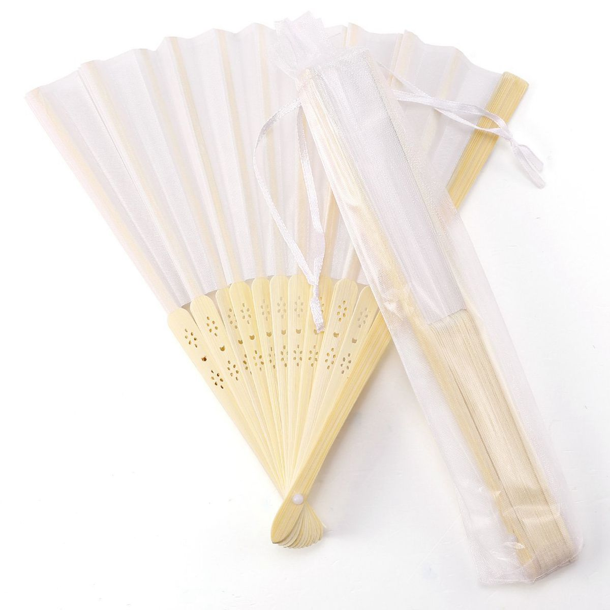 10x Fan In White Silk Fabric + Bamboo With Gift Bag In Muslin For Wedding Personalized Dancing Writing Painting