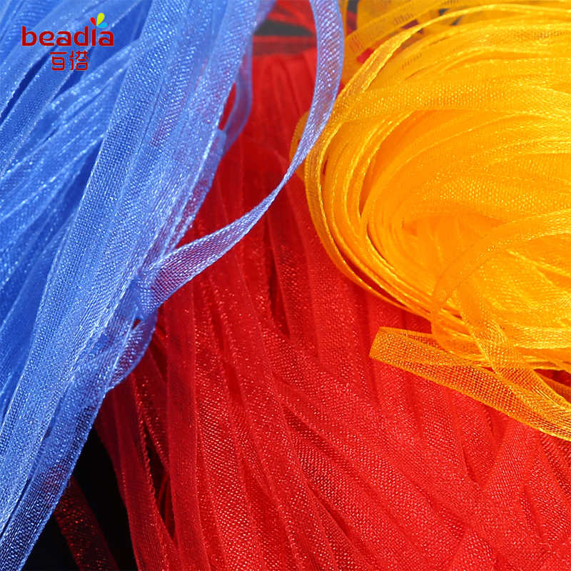 20yds Fita de Organza 3mm De Costura De Vestuário Tecido DIY Decoração Fitas de Embalagem de Presente de Casamento Fontes Do Partido Fita