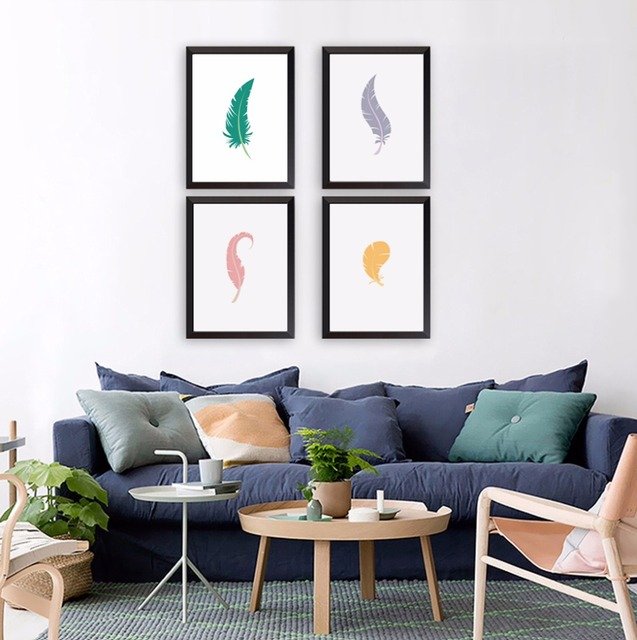 Nordique Moderne Simple Couleur Plume Affiche Impression Toile ...