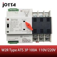 Jotta W2R 3P 110V/220V Mini Ats Automatische Overdracht Schakelaar 100A 3P Elektrische Selector Schakelaars Dual Power schakelaar Din Rail Type