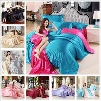 Bed Silk Flat Sheets Set Satin Silk Solid Color bedsheet 4pcs sets of bed sheet full with duvet cover and pillowcase drap housse