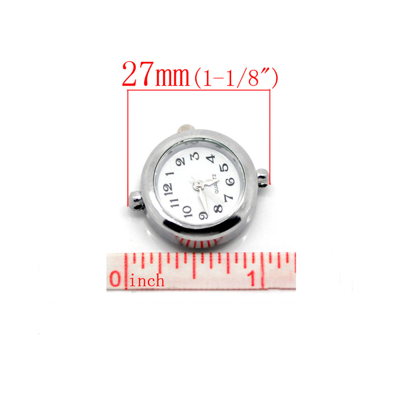 2-10PCs Men Women Silver Round Smooth <font><b>Watch</b></font> Faces For DIY European charm <font><b>Bracelet</b></font> <font><b>Watch</b></font> Making 27X24mm image