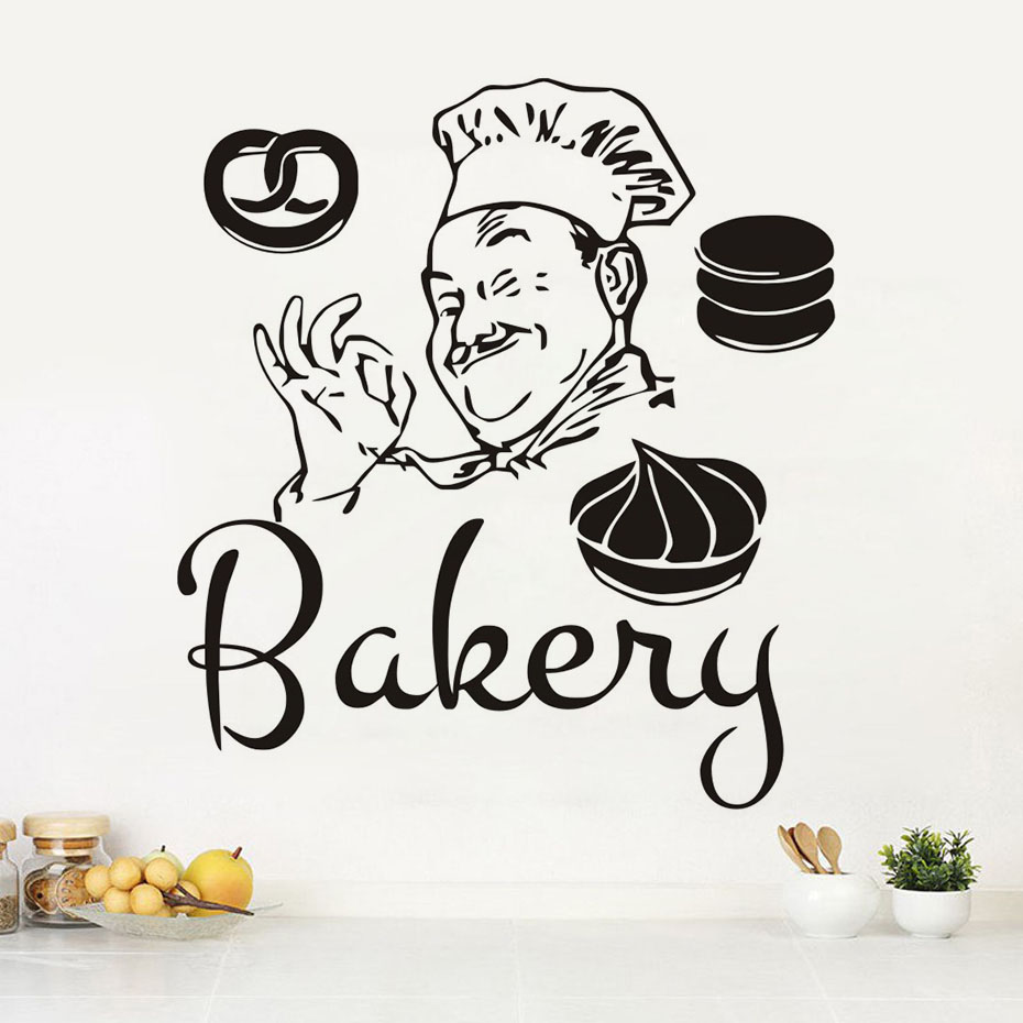 Hot Sale Diy Funny Bakery Chef Wall Stickers Waterproof Bathroom