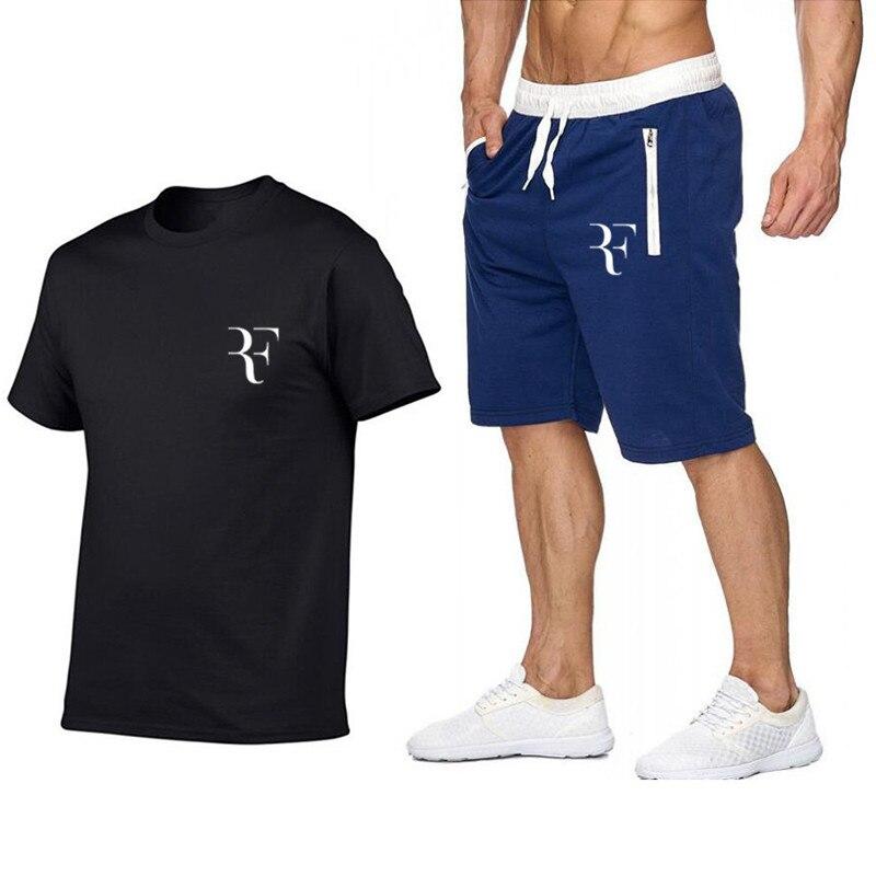 Newest 2019 Summer Men   T  -  shirt   Fashion Roger Federer RF Print Cotton   T     shirt  +Shorts suit Men Trend Casual Short sleeve Tshirt