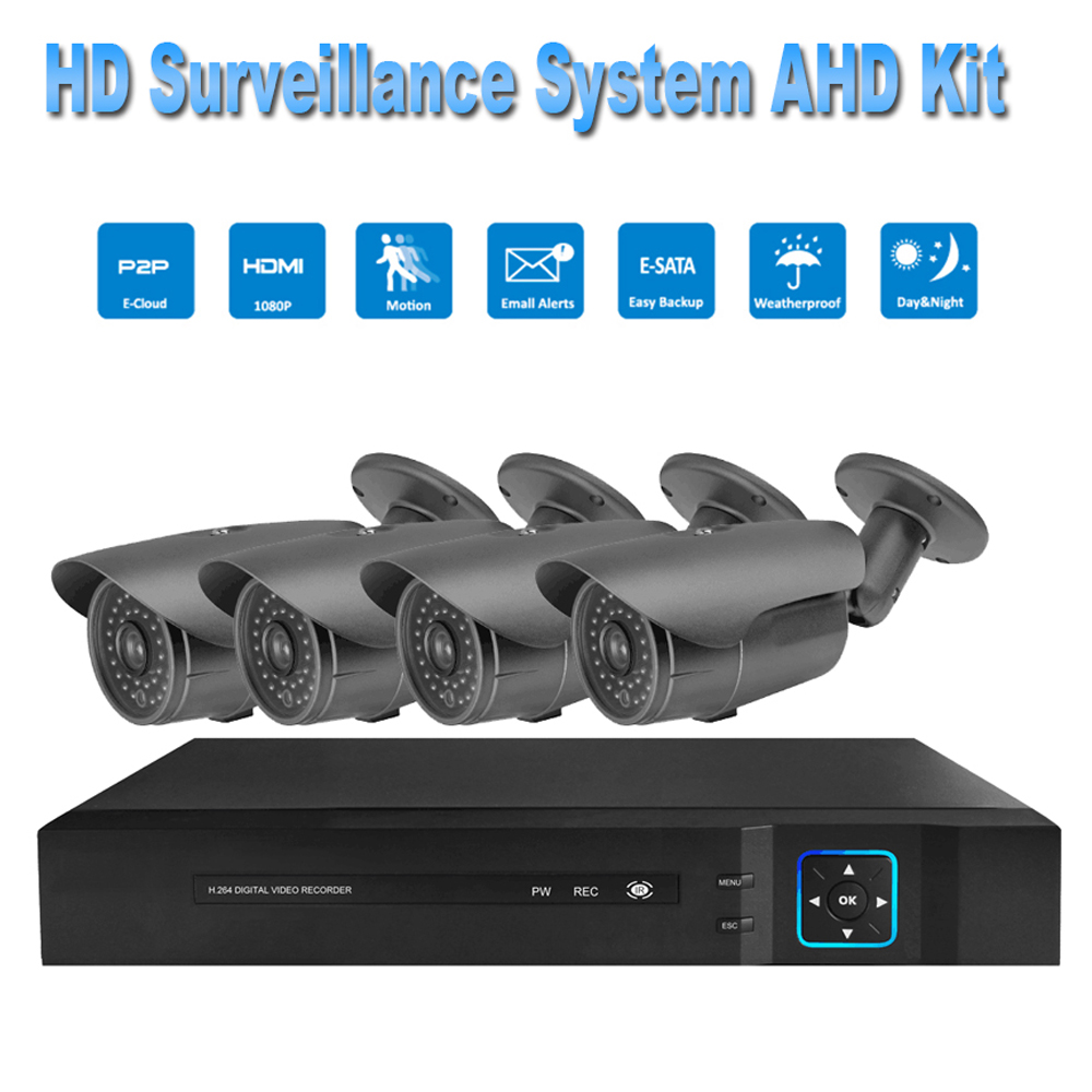 PUAroom 4CH 1080P IP66 night vision AHD camera RoHS FCC CE approved H.264 onvif video recording Outdoor Security Camera System