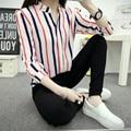 2016 New Fashion Womens Chiffon Shirts Blouses  Female Shirts Vertical Striped Chiffon Career Tops Shirt Blusa Lady Tops B536