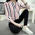 2016 Nueva Moda Gasa de Las Mujeres Camisas Blusas Femeninas Camisas de Rayas Verticales de La Gasa Carrera Tops Camisa Blusa Señora Tops B536