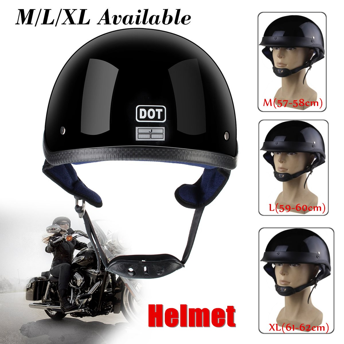 Bright Black Tactical Motorcycle Bicycle Half Helmet DOT Half Flat Face Helmet For Harley Chopper Cruiser Biker M L XL equte rssw30c1s7 fashionable titanium steel two zircon women s ring silver white us size 7