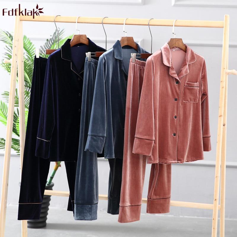 Fdfklak New Brand Women   Pajamas     Set   Spring Autumn Long Sleeve Pyjamas Suit Gold Velvet Casual Sleepwear For Women Pijamas Mujer