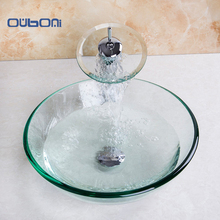 New Arrival Chrome Polished Bathroom Glass Vessel With Pop Up Drain Glass Basin Sink Set Concise Style Tempered Glass Sink