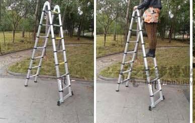 1PC 1.9M + 1.9M Alluminum telescopische ladder met - Bouwgereedschap - Foto 4