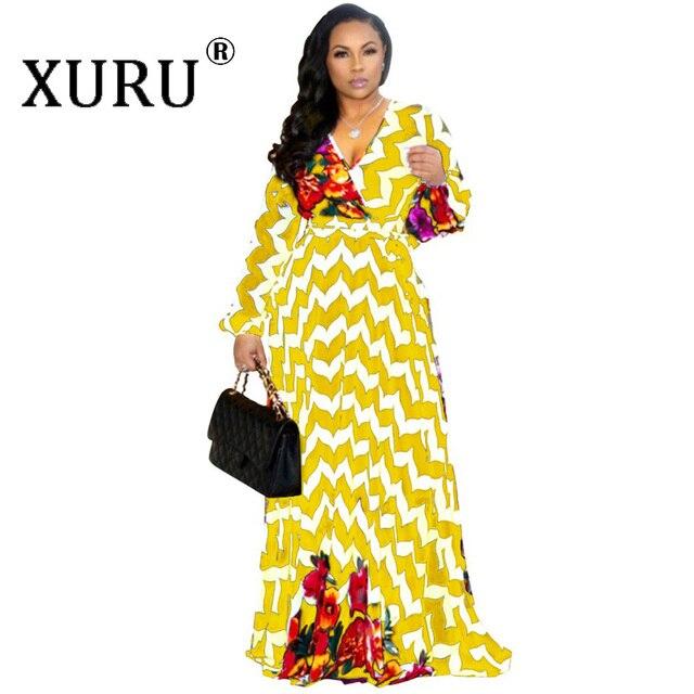 XURU chiffon print dress beach large size dress S-5XL women's long sleeve V-neck casual loose dress 4