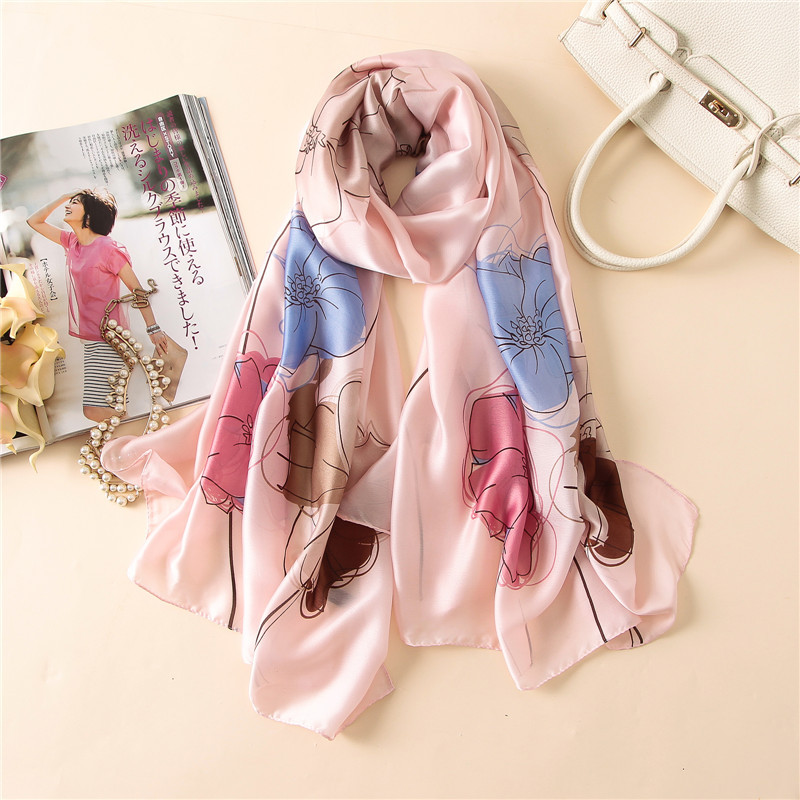 Autumn silk print floral scarf lady fashion elegant bandana soft scarves pashmina Sunscreen shawl beach stoles big size180*90cm