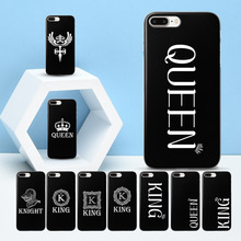 hot deal buy coque new arrivals fashion king queen for iphone 7 plus cute crown black cases for funda iphone 7 5s se 6 6s 7 7plus 8 x case