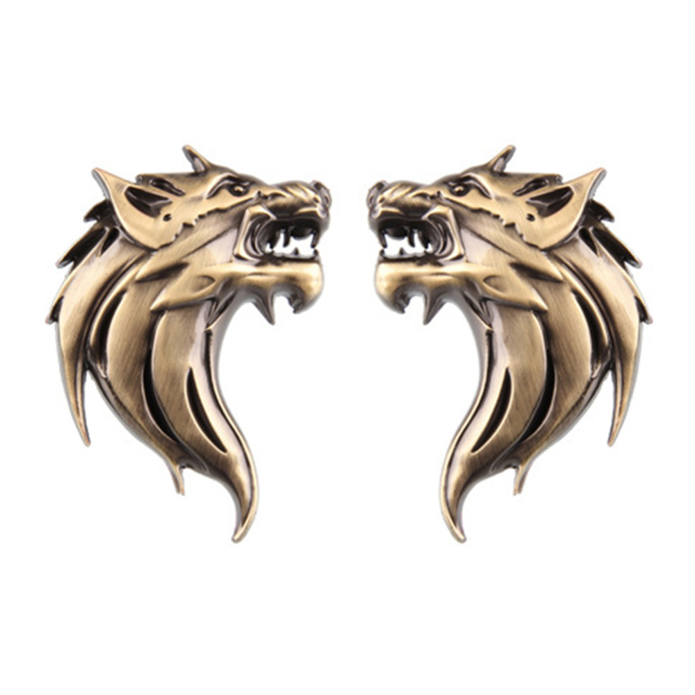 2PCS/Lot 100% New 3D Metal Car Auto Motorcycle Logo Emblem Badge Sticker DIY Wolf Wolverene Head Car-Styling auto chrome camaro letters for 1968 1969 camaro emblem badge sticker