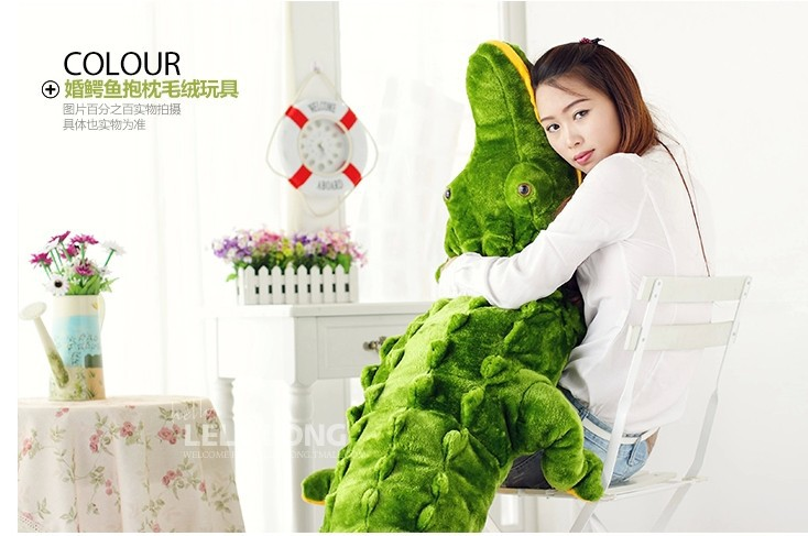 stuffed animal green crocodile plush toy about 80cm crocodile doll throw pillow c7747