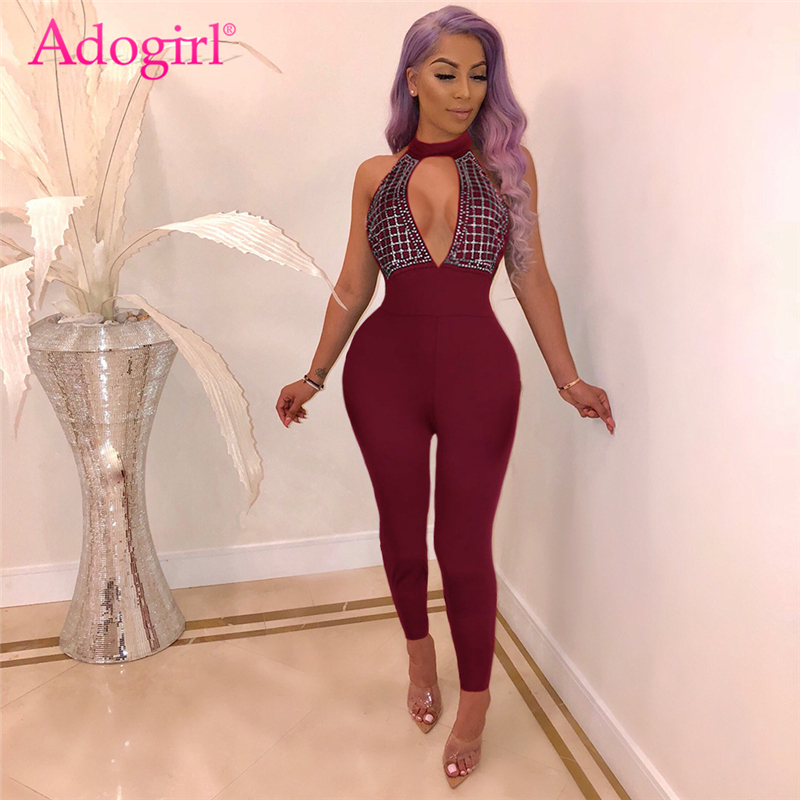 Adogirl Diamonds Cutout Halter Bandage   Jumpsuit   Women Sexy Backless Skinny Romper Night Club Party Outfits Female Overalls