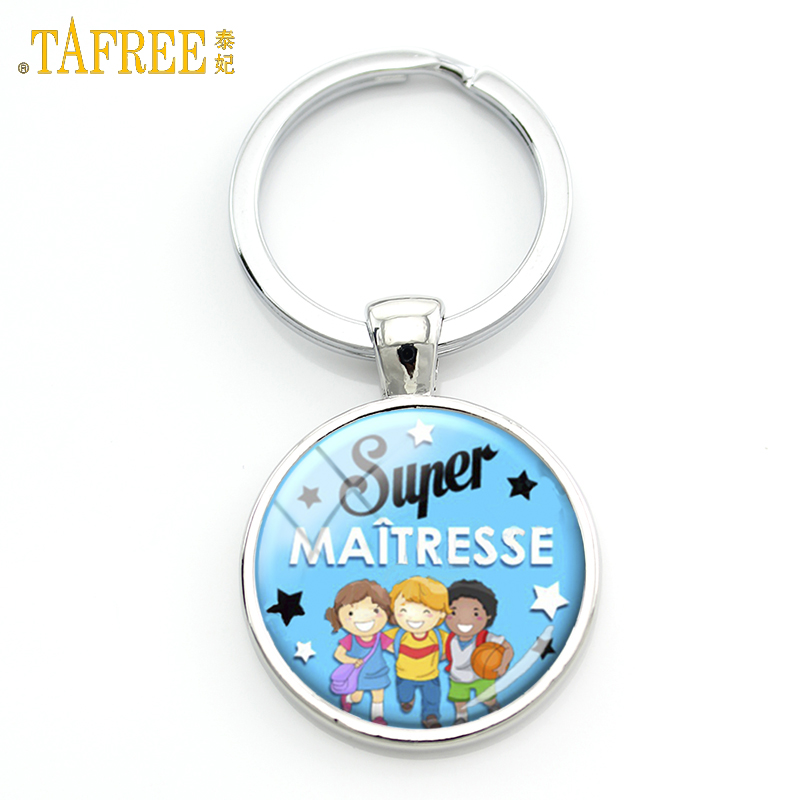 TAFREE Super Maitresse Keychain Meilleure Maitresse Du Monde Glass Dome Merci Key Chain Ring Holder Teachers Jewelry Gifts H108