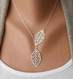 Châu âu và Mỹ trang sức thời trang cá tính đơn giản tính khí hoang dã new leaf đôi lá hoang dã vòng cổ ngắn Phụ Nữ