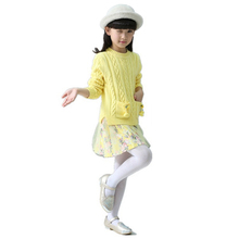 Printed Girls Sweaters Skirt Suit Robe Pull Fille Princess Knitted Sweater Dress Spring Two-piece Children Pullover
