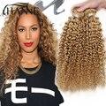 Mel loira cabelo encaracolado malaio 3 pacotes cabelo encaracolado afro crespo curly remy do cabelo humano weave #27 onda profunda extensão do cabelo humano
