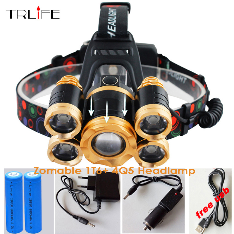 Powerful USB CREE 5*LED XML T6 Headlight 20000Lumens Zoom Headlamp Rechargeable Fishing Light Outdoor Lighting+Battery+Charger high quality 2 mode power 5w led headlight 48000lx outdoor fishing headlamp rechargeable hunting cap light