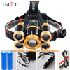 Powerful USB CREE 5*LED XML T6 Headlight 20000Lumens Zoom Headlamp Rechargeable Fishing Light Outdoor Lighting+Battery+Charger