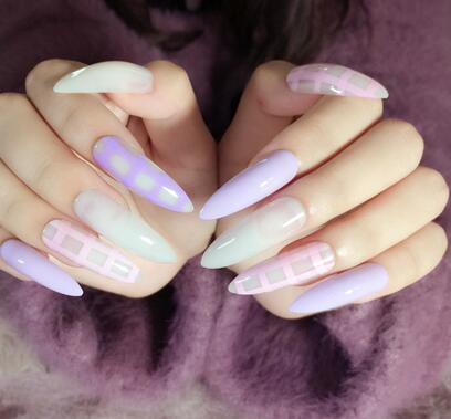24pcs Quality Acrylic False Nails Purple Pink Grids Extra Long Pointed Nail Tips Makeup Fresh Country Style Z285 In From Beauty Health On