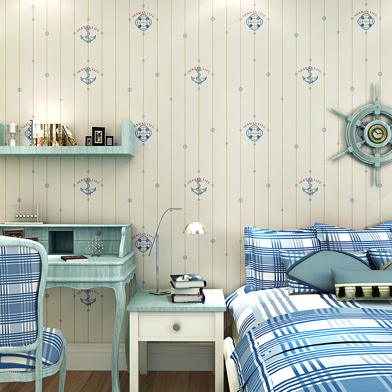 Children Room Wall Paper for Kids Bedroom Walls Mediterranean Style Sail Boat Wallpaper Roll Non Woven Boy Room Wallpapers 3D beibehang non woven pink love printed wallpaper roll striped design wall paper for kid room girls minimalist home decoration