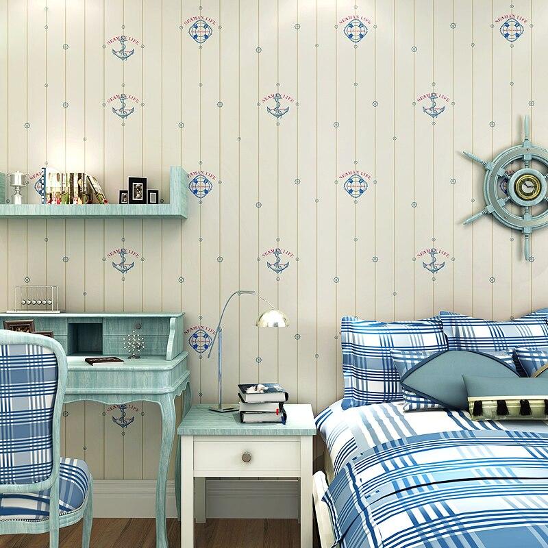 US $27.62 35% OFF|Kinderzimmer Tapeten für Kinder Schlafzimmer Wände  Mediterranen Stil Segelboot Tapete Rolle Vlies Boy Zimmer Tapeten 3D-in  Tapeten ...