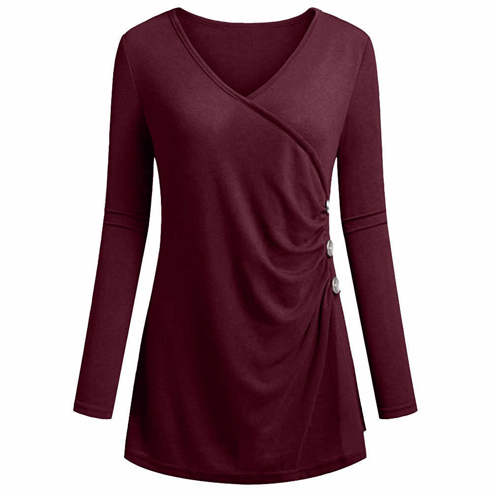 517d036dd92271 Detail Feedback Questions about Solid V Neck Tunics Long Sleeves Slim  Shirts Tunic Button Decor Casual Womens Tops And Blouses blusas mujer de  moda 2018  2W ...