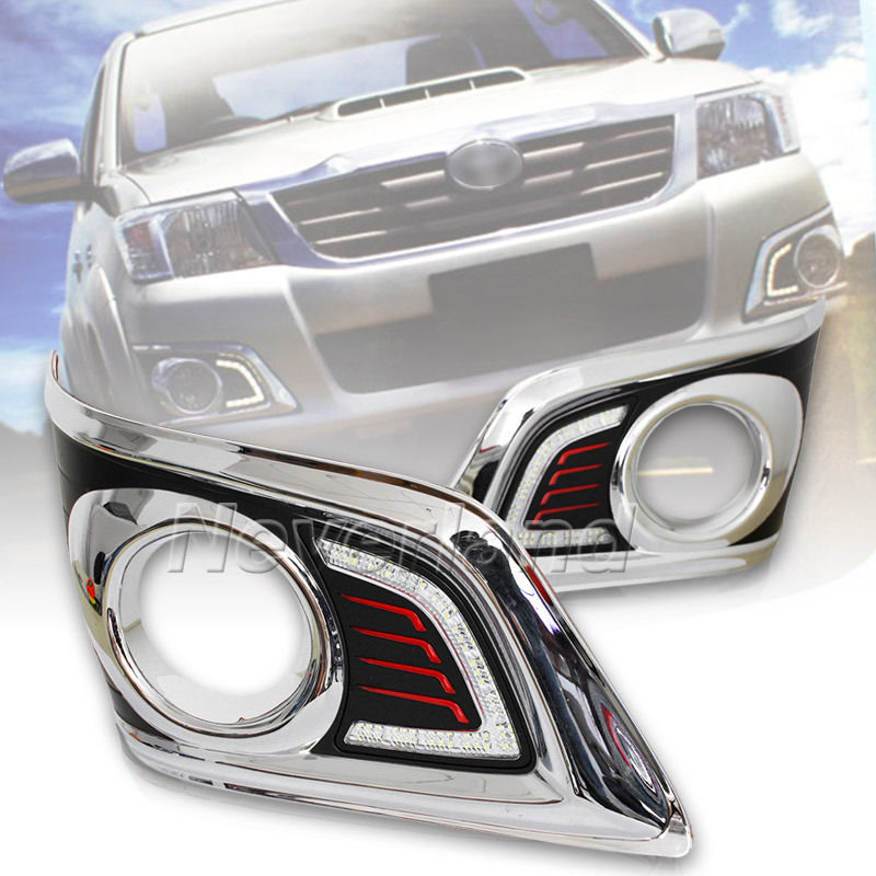 Waterproof LED Car DRL Daytime Running Lights accessories with a Switch For TOYOTA HILUX VIGO CHAMP 2012 2013 Freeshipping D10 revo fog lamp waterproof led car drl daytime running lights accessories for toyota hilux vigo champ 2015 2016 year