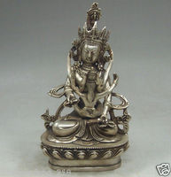 Tibetan old Tibet Silver Crafted Buddha Make Love Happy Buddhism Yab Yum Statue