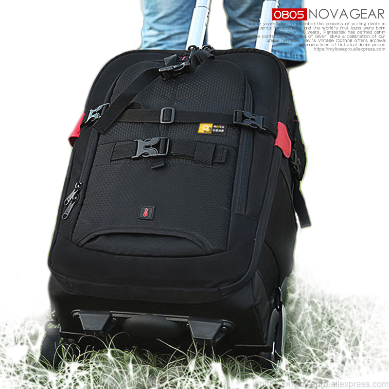 NOVAGEAR 80805 Large space Trolley case DSLR waterproof backpack multifunction camera bags For Canon Nikon Camera