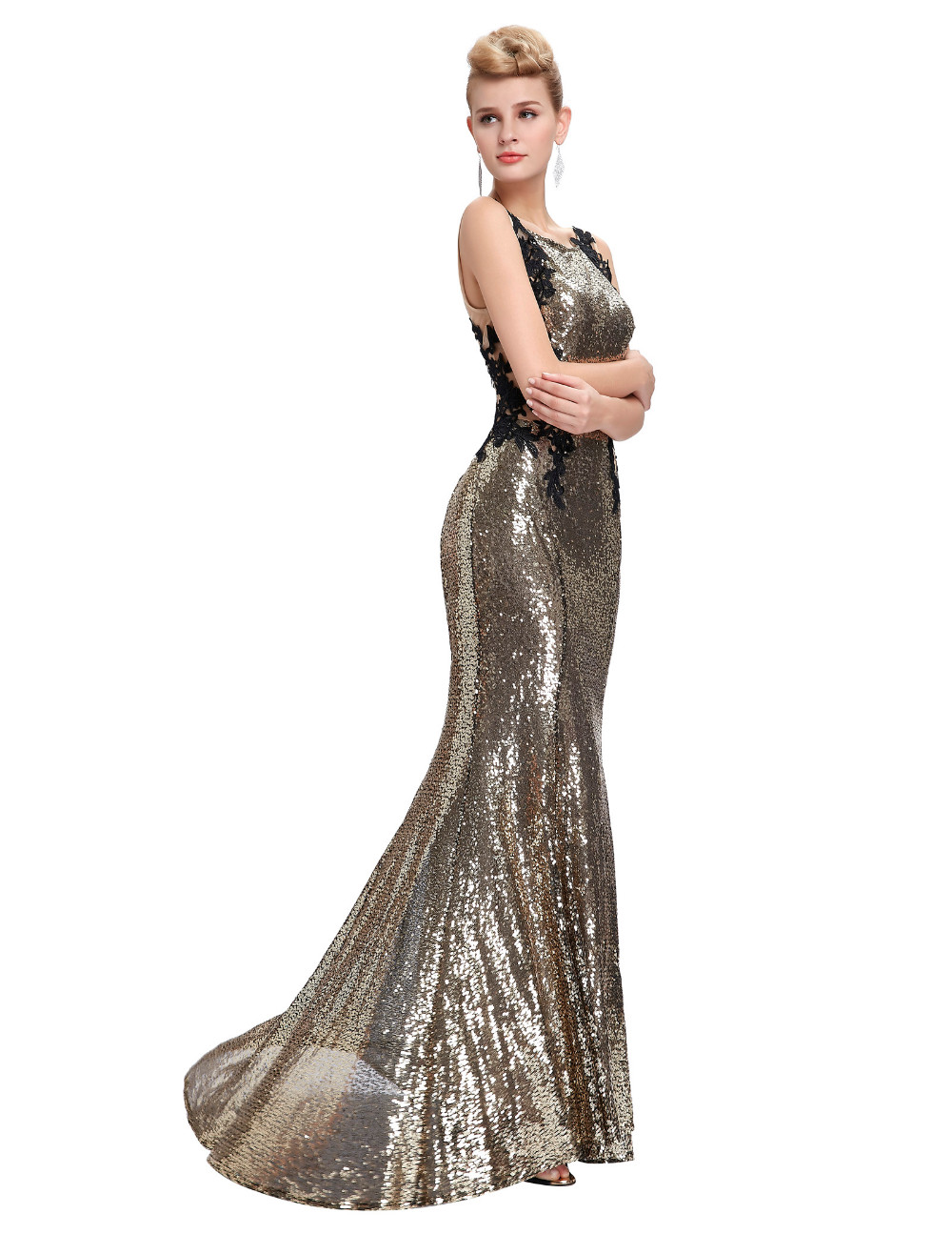 Kate Kasin Mermaid Bridesmaid Dresses Long Dress for Weddings Party Gown 2017 Grey Blue Black Sequin Bridesmaid Dress 0072 10