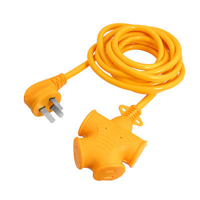 9.8ft Cable AC 250V 16A US AU Plug 4 Outlet Industrial Socket Connector Yellow