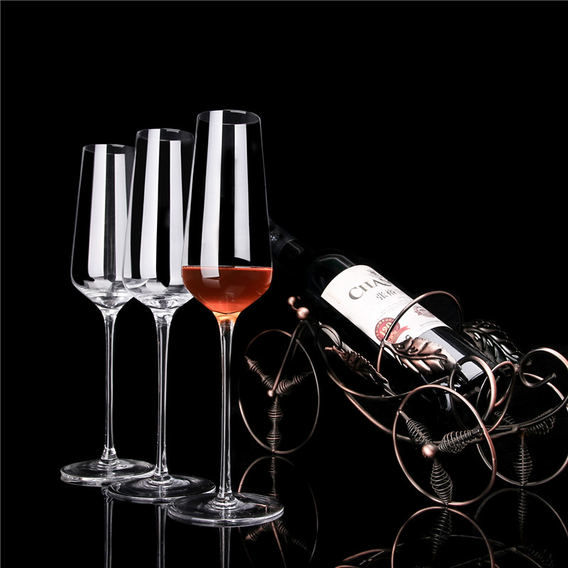 Elaborate Design Red Wine Glass Lead Free Crystal Glass Tuba Cold