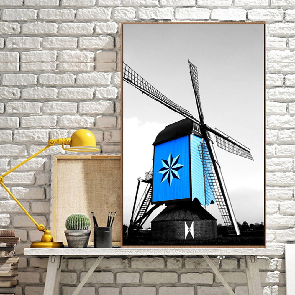 Unframed Canvas Prints Black And White Painting Blue Windmill Prints Wall Picture For Living Room Wall Art Decoration